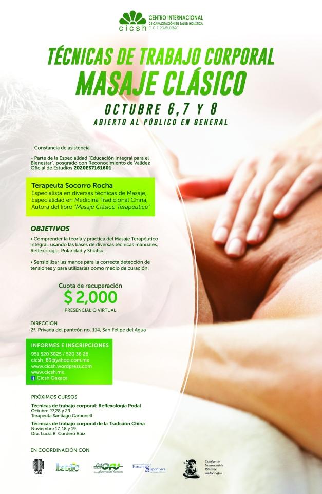 cartel tecnicas de trabajo corporal, masaje clasico